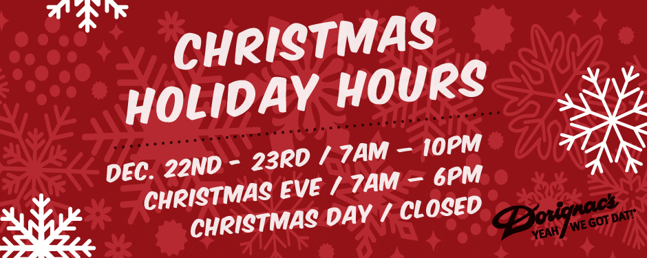 2018 Special Christmas Hours