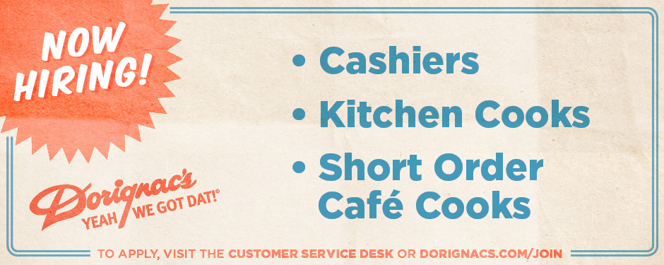 Join Our Team - Cashiers, Food Service
