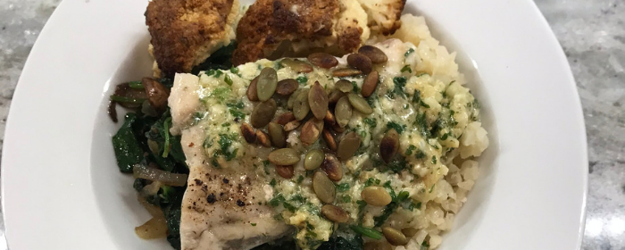 Coconut Barramundi with Anise Wilted Spinach and Cauliflower Rice